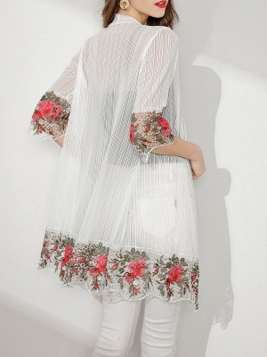 Shift Going out Casual Floral Crocheted Sunscreen Coat_6