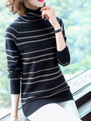 Striped Casual Long Sleeve Printed Sweater_3