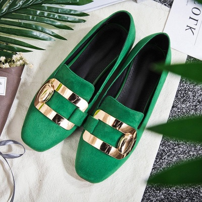 Daily Chunky Heel Suede Square Toe Loafers_11