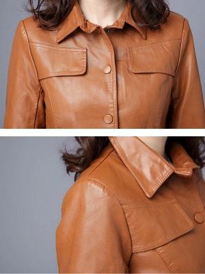 Buttoned Shirt Collar Shift Long Sleeve Casual Pockets Coat_8