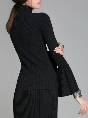 Turtle Neck Casual Bell Sleeve Pleated Sweater_2