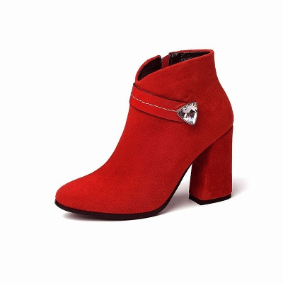 Zipper Chunky Heel Daily Suede Elegant Pointed Toe Boots_1