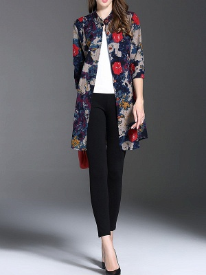 Long Sleeve Casual Stand Collar Shift Floral Coat_7