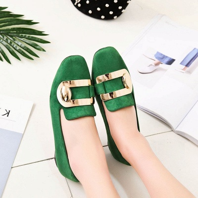 Daily Chunky Heel Suede Square Toe Loafers_3