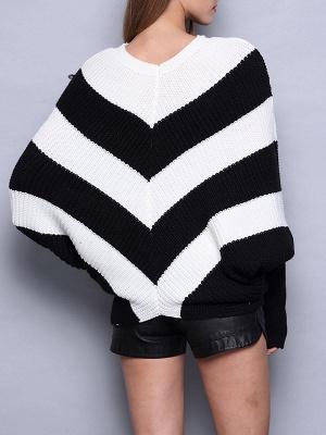Black-white Long Sleeve Shift Cotton Sweater_3