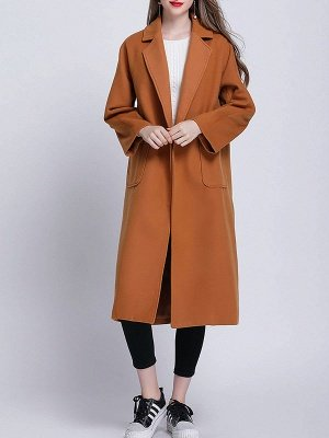 Brown Pockets Shift Solid Casual Long Sleeve Coat_4