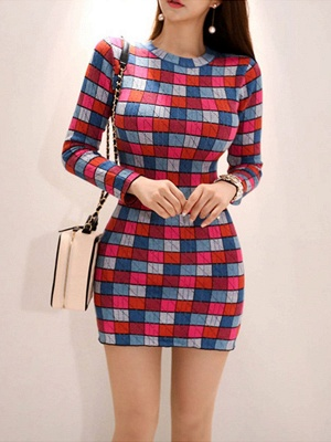 Multicolor Casual Checkered/Plaid Crew Neck Long Sleeve Sweater_4