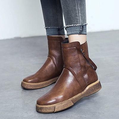 Zipper Daily Round Toe Flat Heel Boots_1