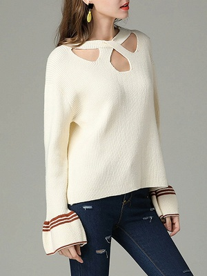 Cutout Casual Bell Sleeve Keyhole Sweater_8