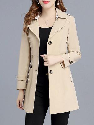 Lapel Long Sleeve Casual Buttoned Pockets Paneled Coat_3
