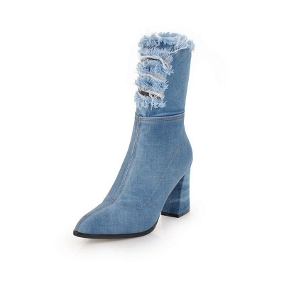 Women's Boots Dark Blue Pointed Toe Chunky Heel Boots_10