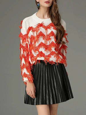 Orange Long Sleeve Sheath Crew Neck Sweater_1