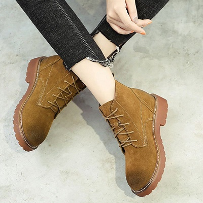 Grind Cowhide Leather Round Toe Lace-up Boots_12