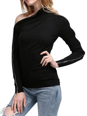 Black Sheath Solid Long Sleeve Zipper Casual Sweater_6