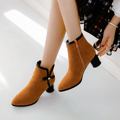 Daily Chunky Heel Zipper Pointed Toe Boots_12