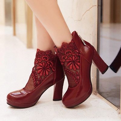 Mesh Fabric Zipper Round Toe Embroidery Boots_5