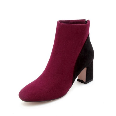 Women Daily Chunky Heel Suede Color Block Boots_3