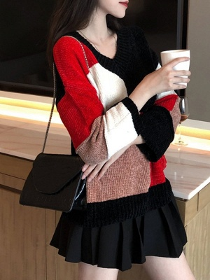 Multicolor Casual Solid Long Sleeve V neck Color-block Sweater_1