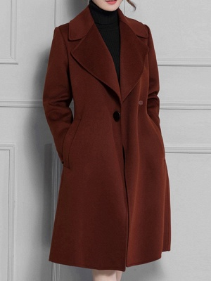 Casual Long Sleeve Lapel Solid Pockets Buttoned Coat_12