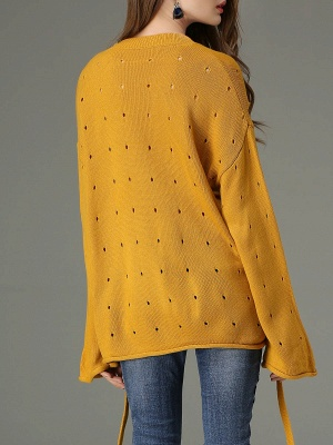 Lace Up Long Sleeve Solid Crew Neck Casual Sweater_3