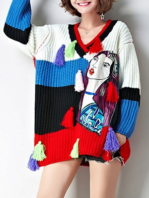 Multicolor Graphic V neck Knitted Statement Batwing Sweater_6
