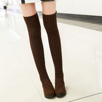 Suede Daily Wedge Heel Round Toe Boot_8