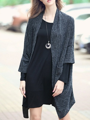 Casual Shift Batwing Pockets Coat_2