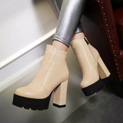 Chunky Heel Daily Zipper Round Toe Boots_2