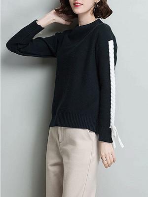 Casual Shift Long Sleeve Paneled Sweater_4
