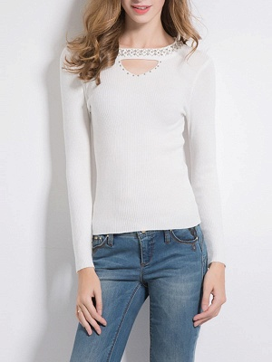 Solid Long Sleeve Casual Beaded Sweater_1