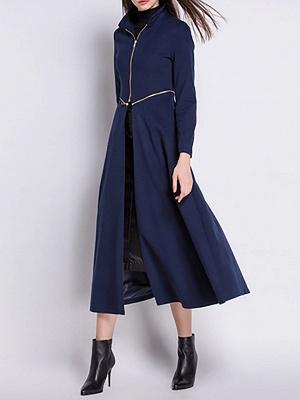 Stand Collar A-line Paneled Long Sleeve Casual Zipper Coat_4