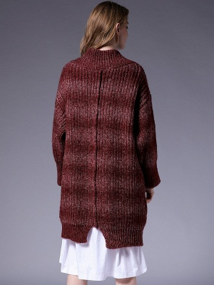 Knitted Casual Long Sleeve Shift Sweater_4