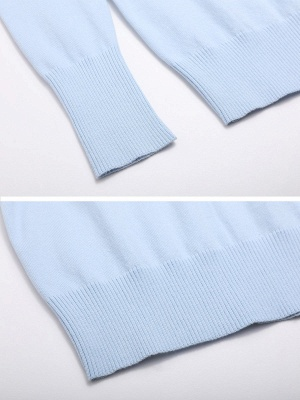 Sky Blue Girly Knitted Cold Shoulder Sweaters_6