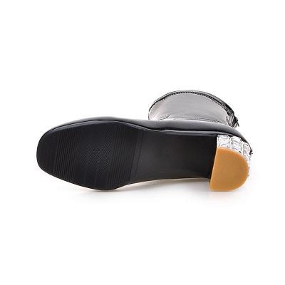 Chunky Heel Zipper Elegant Square Toe Boots_16