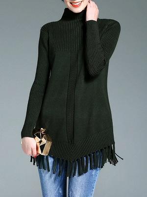 Turtleneck Long Sleeve Elegant Solid Fringed Sweater_2