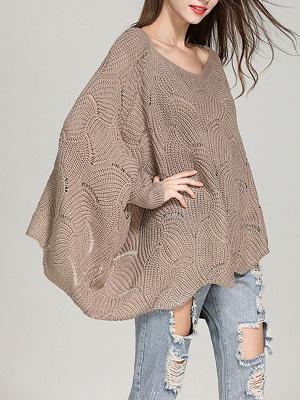 Casual Bateau/boat neck Batwing Sweater_2
