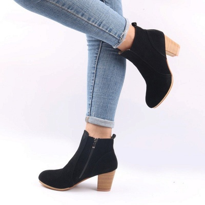 Suede Chunky Heel Zipper Daily Round Toe Boot_9