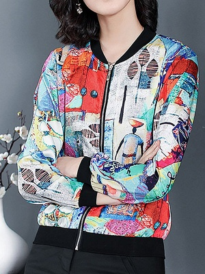 White Long Sleeve Casual Printed Abstract Crew Neck Coat_1