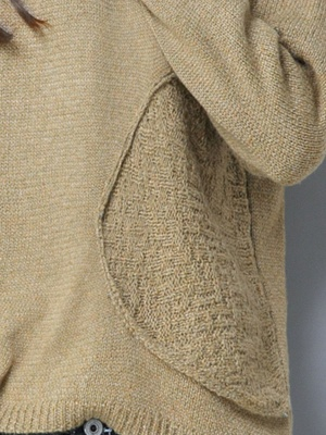Long Sleeve Knitted Plain Casual Crew Neck Sweater_7
