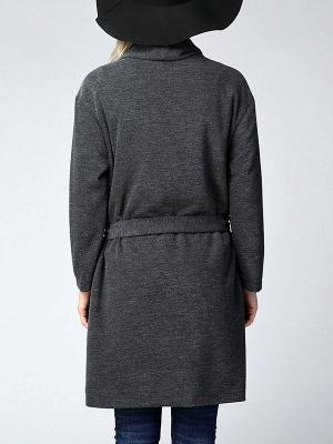 Gray Long Sleeve Casual Solid Pockets Coat_3