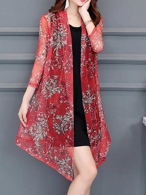 3/4 Sleeve Casual Printed Floral Chiffon Coat_6