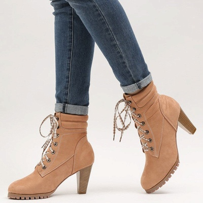 Women's Boots Brown Lace-Up Round Toe Elegant Chunky Heel Boots_4