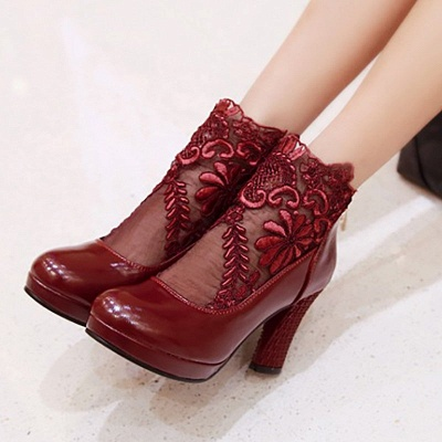 Mesh Fabric Zipper Round Toe Embroidery Boots_2