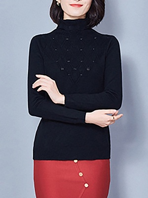Sheath Turtleneck Long Sleeve Casual Embossed Sweater_6