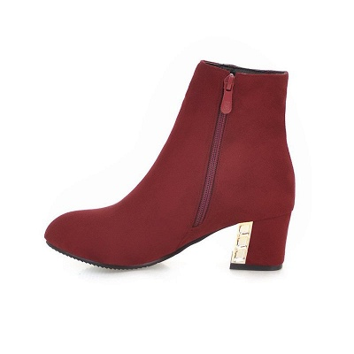 Zipper Daily Chunky Heel Pointed Toe Elegant Boots_10