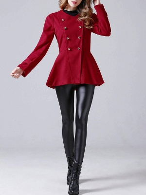 Red Buttoned Casual Shift Coat_4