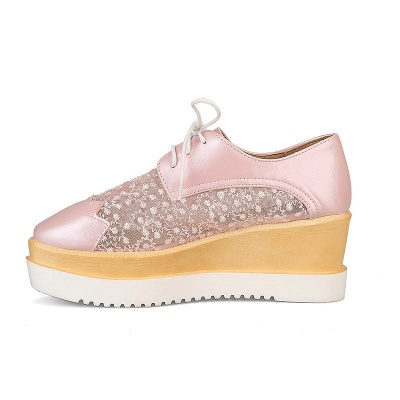 Mesh Lace-up Daily PU Pointed Toe Wedge Loafers_11