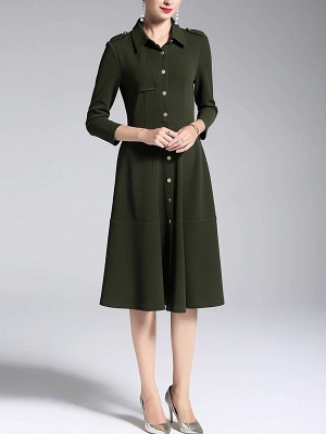 A-line Shirt Collar Buttoned Casual Long Sleeve Paneled Solid Coat_8