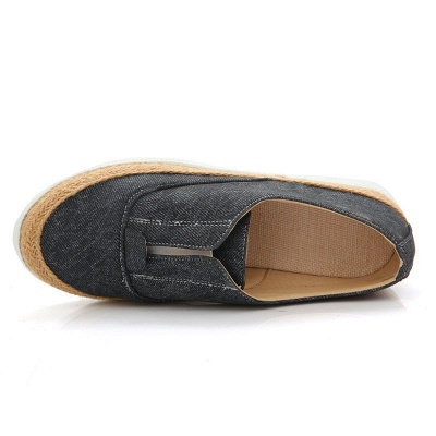Summer Casual Round Toe Denim Wedge Loafers_7