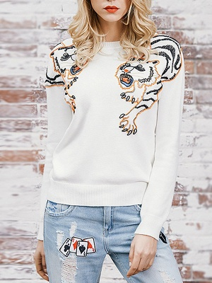 Long Sleeve Embroidered Crew Neck Casual Sweater_1
